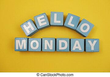 Hello Monday alphabet letters on yellow background