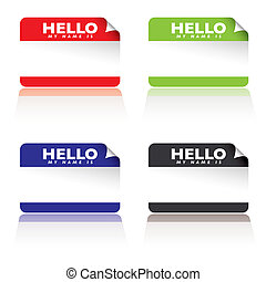 hello my name is - colourful paper tags with hello my name...
