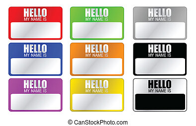 Hello, my name is label in different colors isolated over a white background