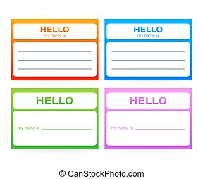 """""""Hello My Name Is..."""" Name Tag Set. Label sticker on white background. Vector illustration."""