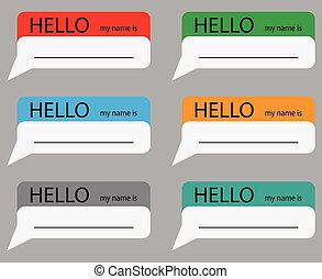 Hello my name is sticker set color