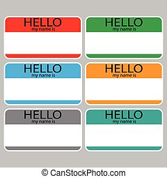 Hello my name is sticker sign badge set color