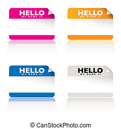 Hello my name is variation - Brightly coloured name tag card...