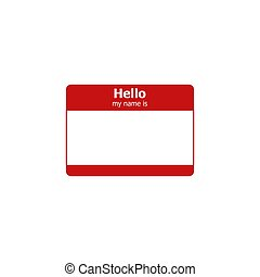 Hello my name is. Vector label sticker