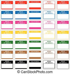 Hello name tags - Set of different name tags with copy...