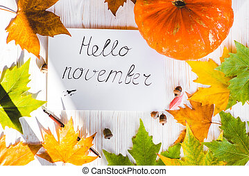 Hello November card, Fall composition from leaves and pumpkin