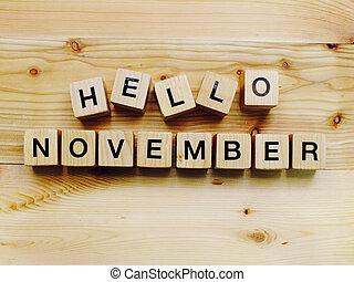 hello november wooden block