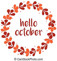 Hello october wreath orange card - Hello october wreath...