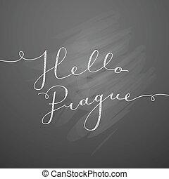 hello prague lettering