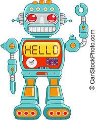 Hello robot - Retro robot toy waving hello