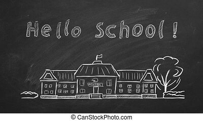 Hand drawing and animated Back to School concept on blackboard.