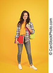 Hello school. Happy girl back to school. Pretty woman go to school yellow background. Back to class. September 1. Knowledge day. Education and study. Welcome back. Back to school