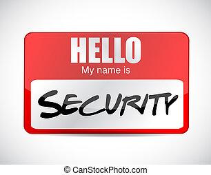 Hello security name tag illustration design