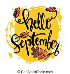 Hello September hand lettering calligraphy