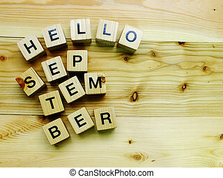 hello september wooden block