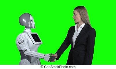 hello., sien, dit, prend, écran, robot, main, vert, girl, accueils