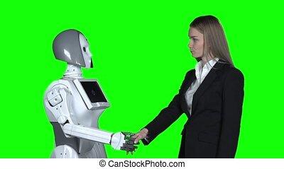 hello., sien, dit, prend, robot, motion main, lent, vert, screen., girl, accueils