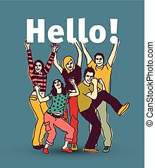 Hello sign team group business people.