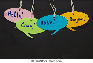 Hello / Speaking learning foreign languages. colorful speech...