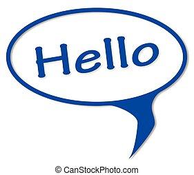 Hello Speech Bubble - Hello speech button over a white...