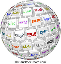 Hello Sphere Word Tiles Global Languages Cultures - A sphere...