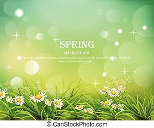 Hello spring background with chamomile flowers Vector ...