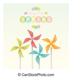Hello spring background with colorful pinwheels 1