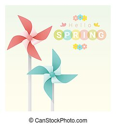 Hello spring background with colorful pinwheels 2
