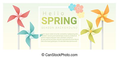 Hello spring background with colorful pinwheels