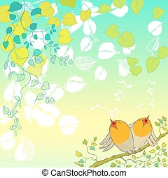 Hello Spring Background with Hand Drawn Leaves and Birds Chirping.