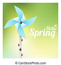 Hello Spring background with ladybugs on colorful pinwheel