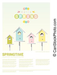 Hello spring background with little birds in birdhouses 3