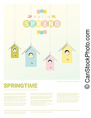 Hello spring background with little birds in birdhouses