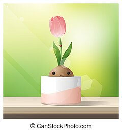 Hello Spring background with Spring flower Tulip growing in a pot on wooden table top 1