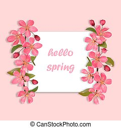 Hello Spring card with pink cherry blossom