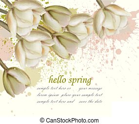 Hello spring card with white flowers and paint splash Vector. Realistic illustration revival seasons