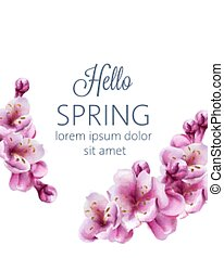Hello spring cherry blossom flowers greeting card with place for text