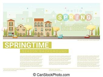 Hello spring cityscape background , vector , illustration