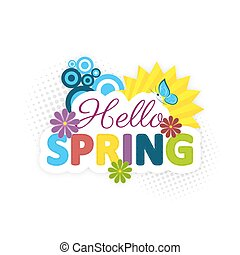 Hello spring. Colorful flowers, sun and blue butterfly. ...
