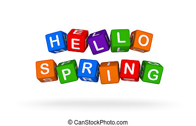 Hello Spring. Colorful Toy Block Flying on White Background.