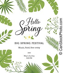 Hello Spring festive banner with Springtime season flower. Floral greeting card for Spring holiday themes design with daffodil, rose and tulip, calla lily, flower bud and green leaf frame.