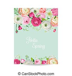 Pink watercolor paint stroke for wedding invitation design eps hello spring floral card for holidays decoration wedding invitation greeting template with blooming pink junglespirit Choice Image