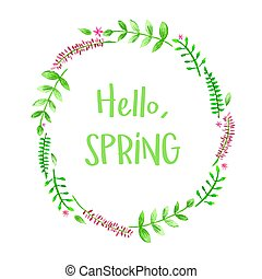Hello Spring floral frame with watercolor flowers isolated on white background. Vector template for greeting card, invitation, poster, banner, voucher, wallpaper, flyer, brochure, coupon discount.