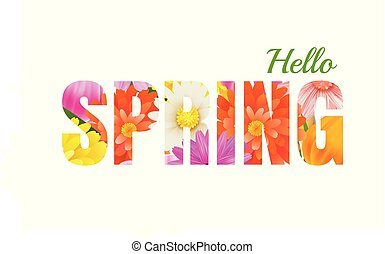 Hello spring flowers design in text background.