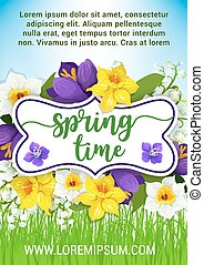 Hello Spring flowers vector floral poster