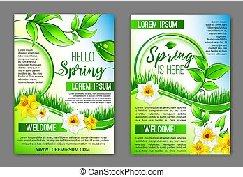 Hello Spring flowers vector floral posters set