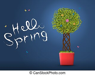 Hello spring from the tree in the pot at night