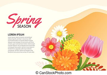 Hello spring greeting card and invitation with blooming flowers background template. Design for decor, flyers, posters, brochure, banner.