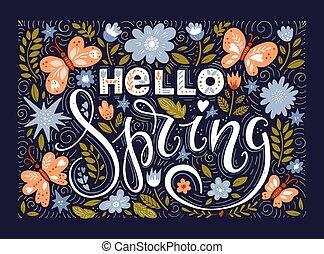 Hello spring greeting card. Hand drawn illustration - Vector...
