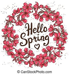 Hello Spring greeting card. Hand drawn illustration with...